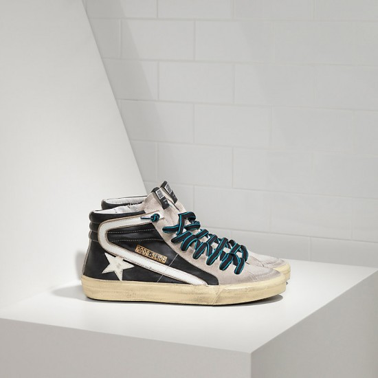 Men/Women Golden Goose slide in pelle black white sneaker