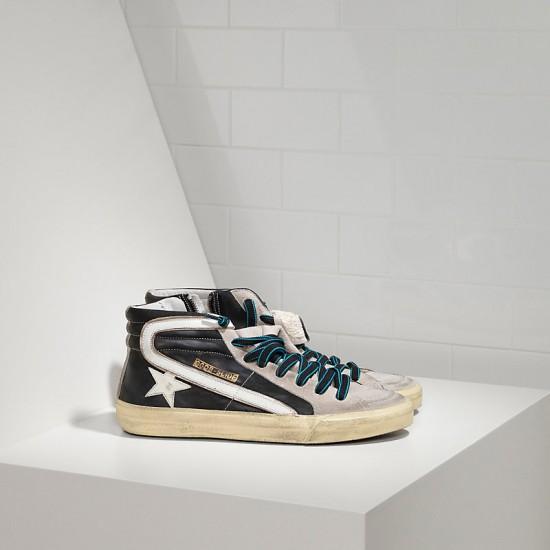 Men/Women Golden Goose slide in pelle black white sneaker