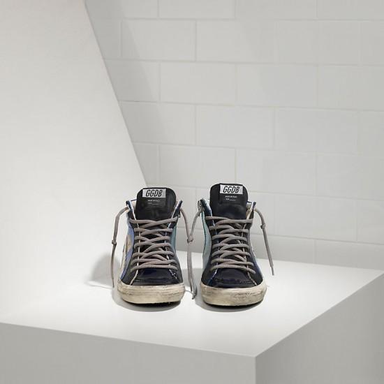Men/Women Golden Goose slide in pelle blue shades sneaker