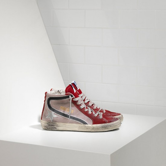 Men/Women Golden Goose slide in pelle red suede silver star sneaker