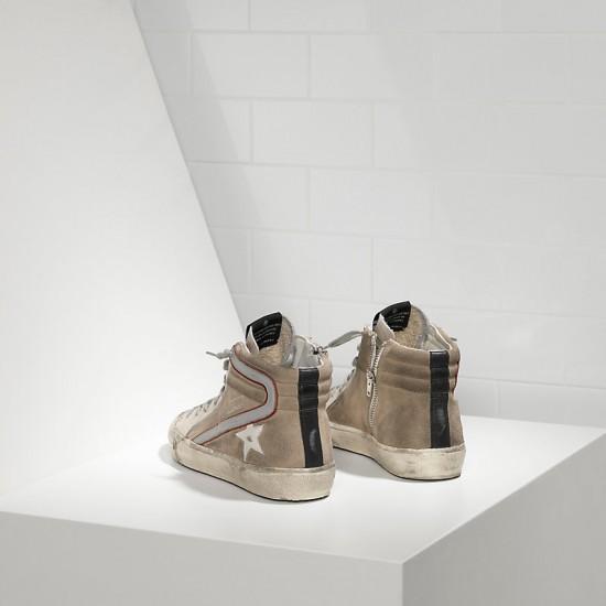 Men/Women Golden Goose slide in pelle silver beige suede sneaker