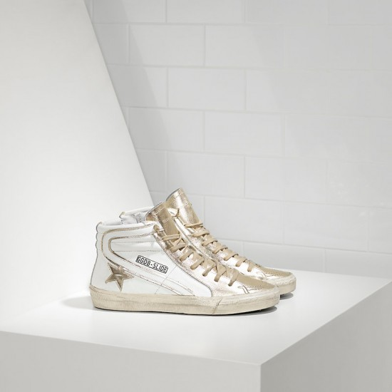 Men/Women Golden Goose slide in pelle white gold star sneaker