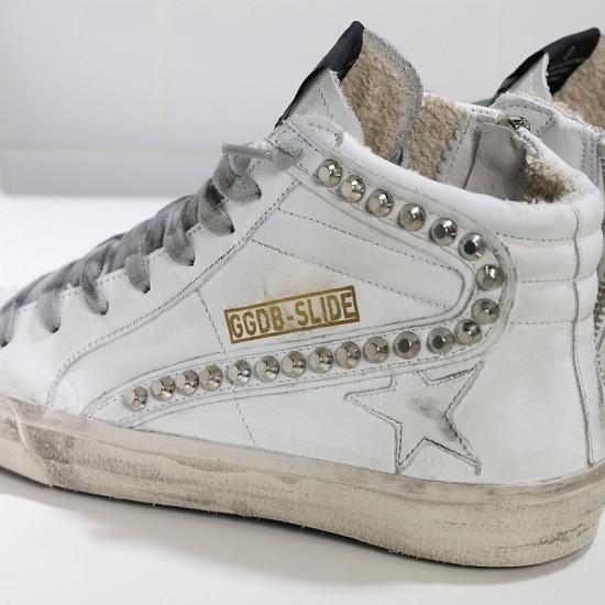 Men/Women Golden Goose slide in pelle white leather studs sneaker