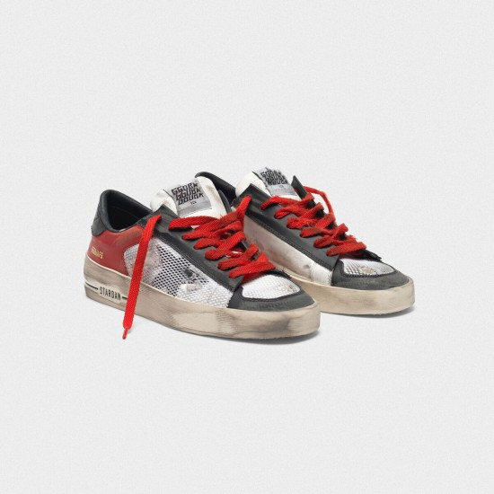 Men/Women Golden Goose distressed black and red stardan ltd sneaker