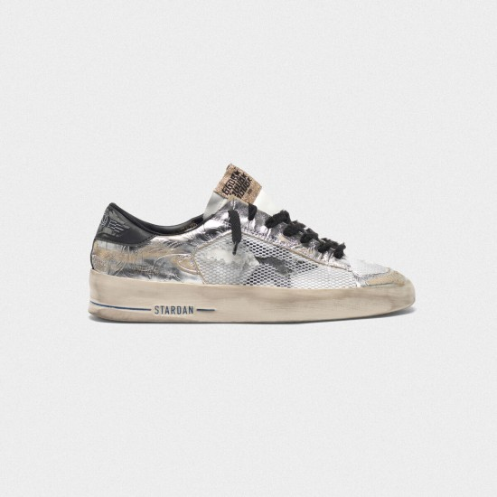 Men/Women Golden Goose stardan ltd laminated silver with floral design sneaker