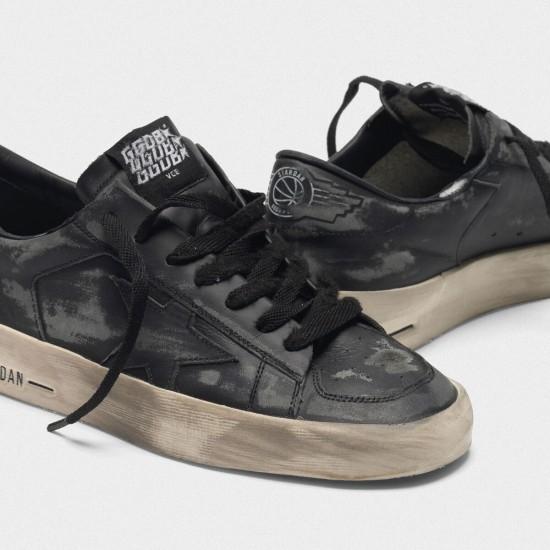 Men/Women Golden Goose stardan ltd in total black leather sneaker