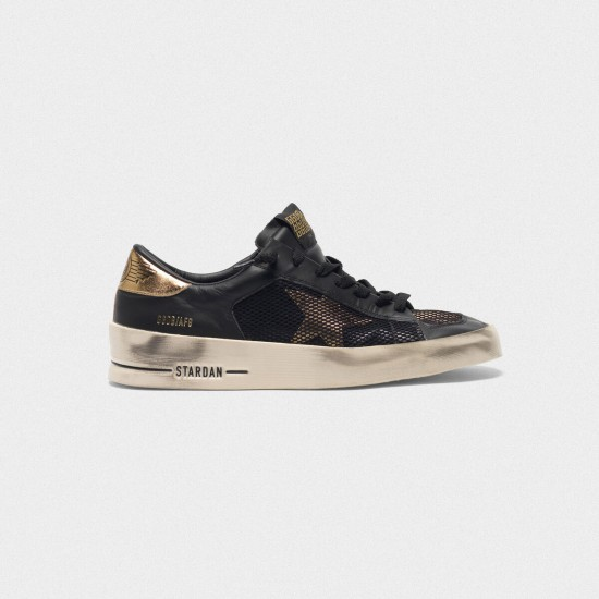 Men/Women Golden Goose stardan black gold leather with mesh inserts sneaker