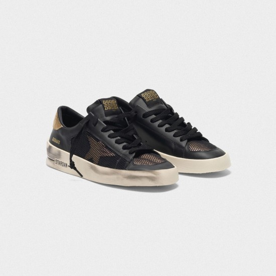Men/Women Golden Goose stardan black gold leather with mesh inserts sneaker