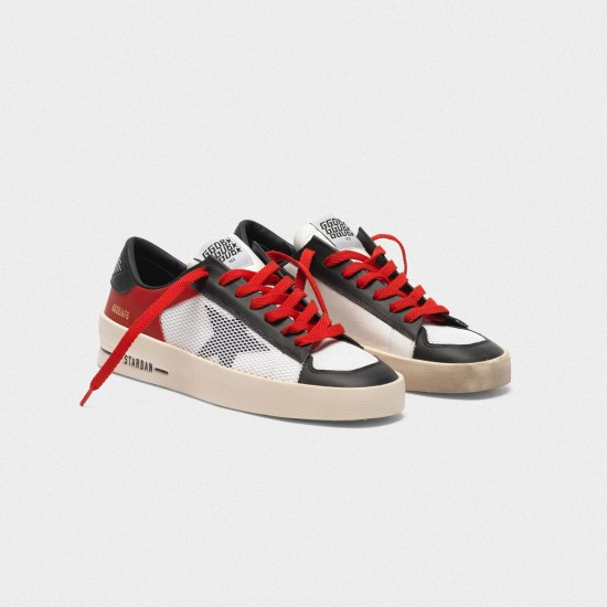 Men/Women Golden goose stardan red white leather with mesh inserts sneaker