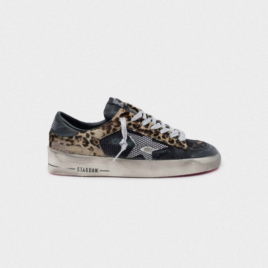 Women Golden Goose leopard print stardan with fuchsia sole sneaker