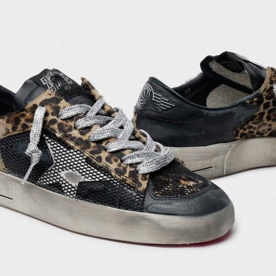 Women Golden Goose leopard print stardan with fuchsia sole sneaker