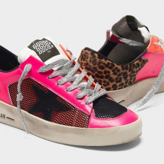 Women Golden Goose stardan in fluorescent patchwork with leopard print sneaker
