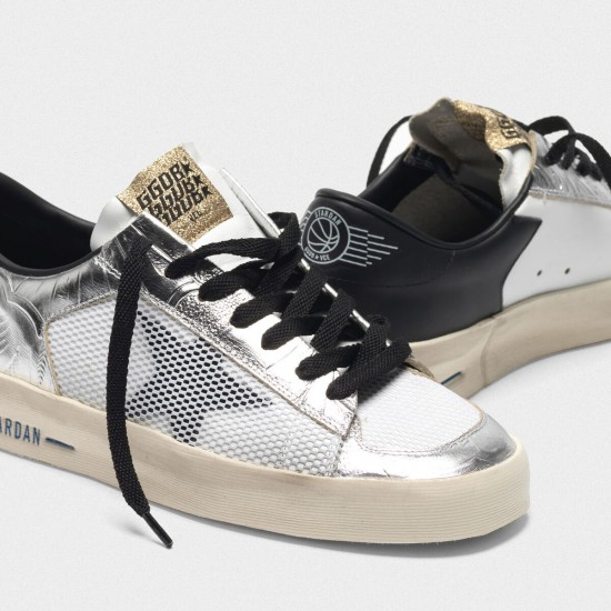 Women Golden Goose stardan in laminated silver with floral design relief sneaker