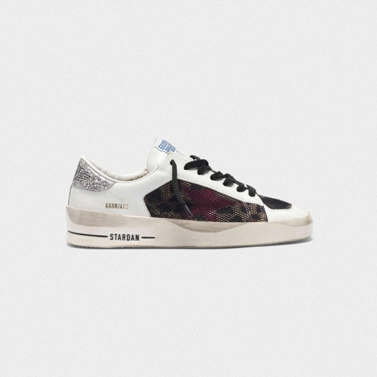 Women Golden Goose stardan with leopard print star and glittery sneaker