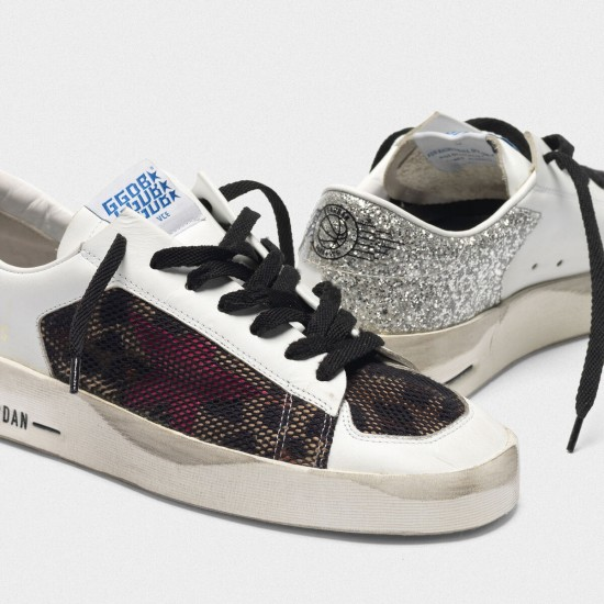 Women Golden Goose stardan with leopard print star and glittery sneaker