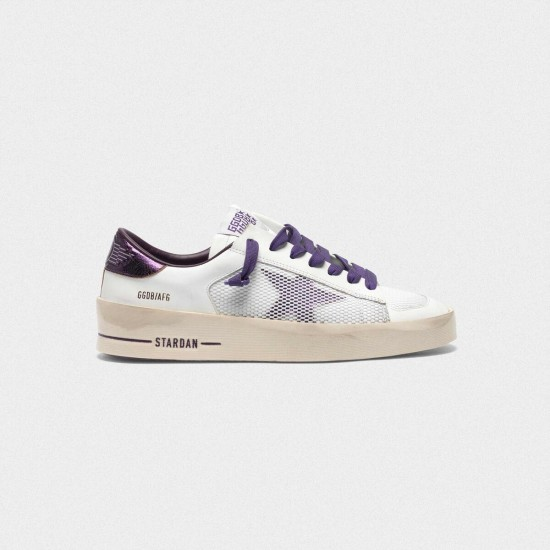 Women Golden Goose stardan with star and heel tab in metallic purple sneaker