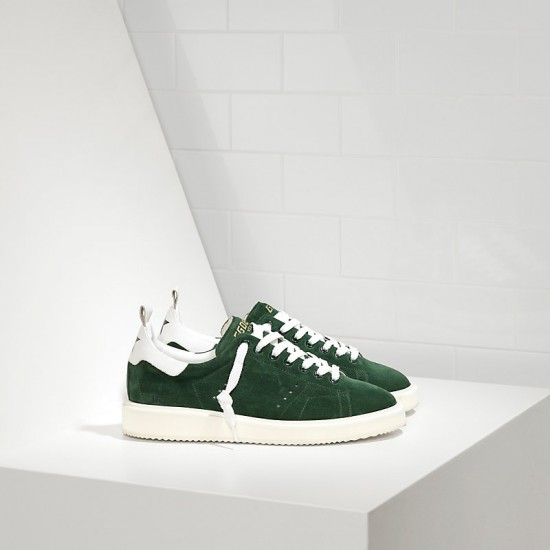 Men Golden Goose starter in calf suede green suede white sneaker