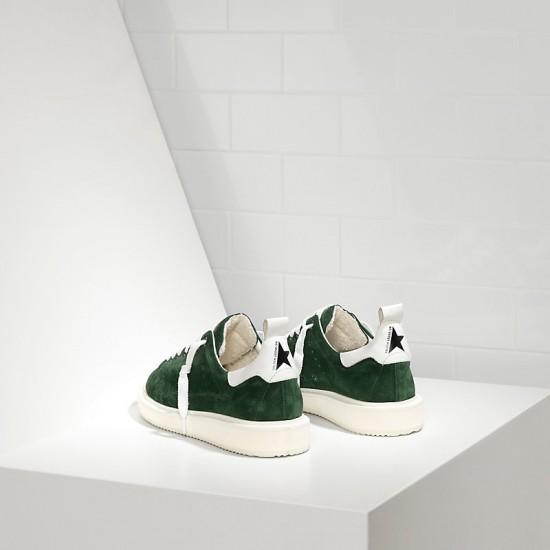 Men Golden Goose starter in calf suede green suede white sneaker