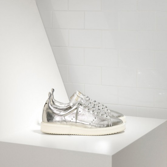 Men/Women Golden Goose starter in laminato silver white sole sneaker