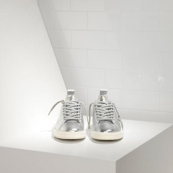 Men/Women Golden Goose starter in laminato silver white sole sneaker