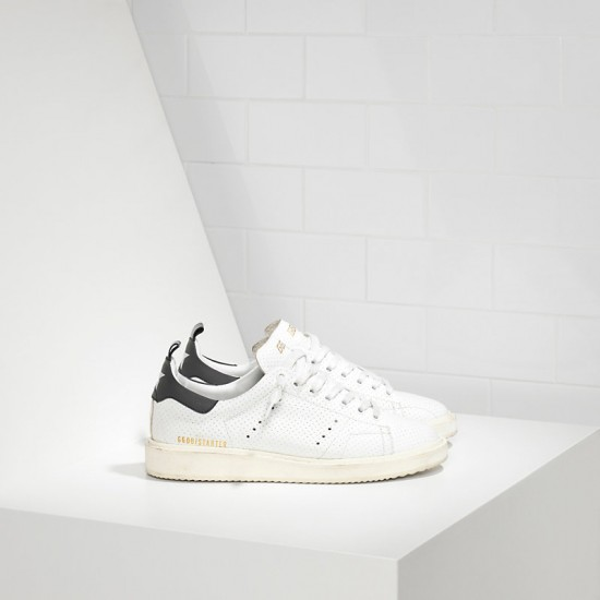 Men/Women Golden Goose starter in traforata white spot sneaker