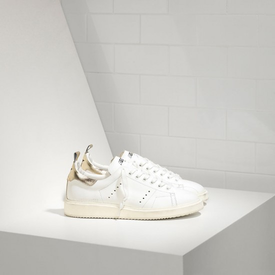 Men/Women Golden Goose starter in white gold sneaker