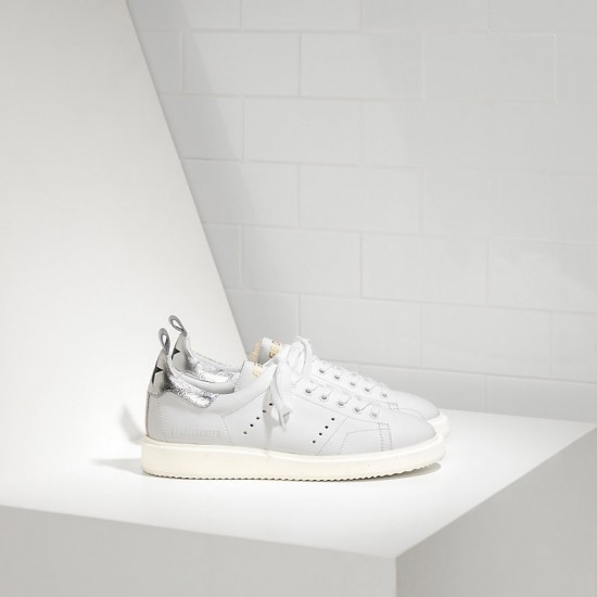 Men/Women Golden Goose starter in white silver sneaker