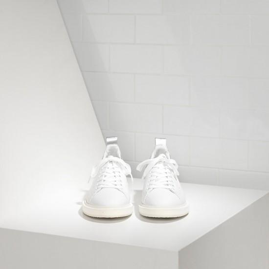 Men/Women Golden Goose starter in white silver sneaker