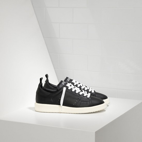 Men/Women Golden Goose starter in calf leather black white sole sneaker