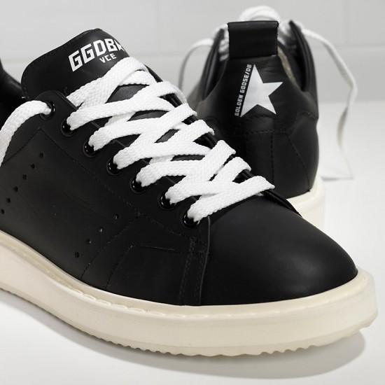 Men/Women Golden Goose starter in calf leather black white sole sneaker