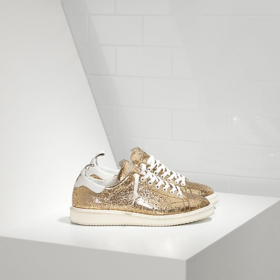 Men/Women Golden Goose starter leather coated gold glitter white sneaker