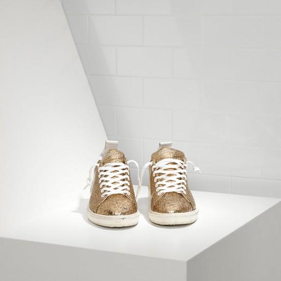 Men/Women Golden Goose starter leather coated gold glitter white sneaker