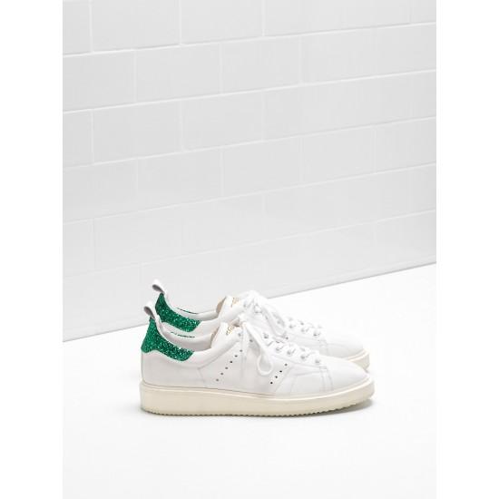 Women Golden Goose starter upper in leather white green sneaker