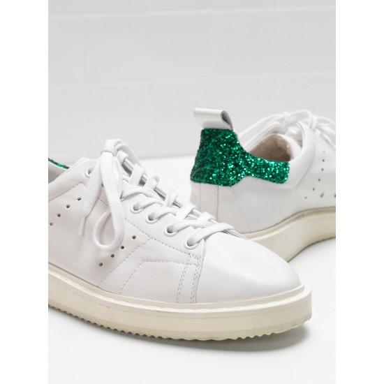 Women Golden Goose starter upper in leather white green sneaker
