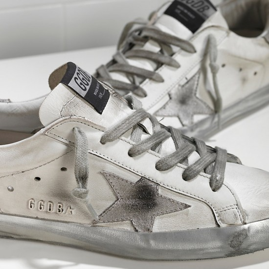 Men/Women Golden Goose superstar in Metal silver sneaker
