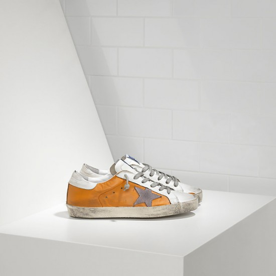 Men/Women Golden Goose superstar in beige white violet sneaker