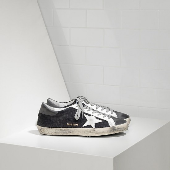Men Golden Goose superstar in black denim grey sneaker