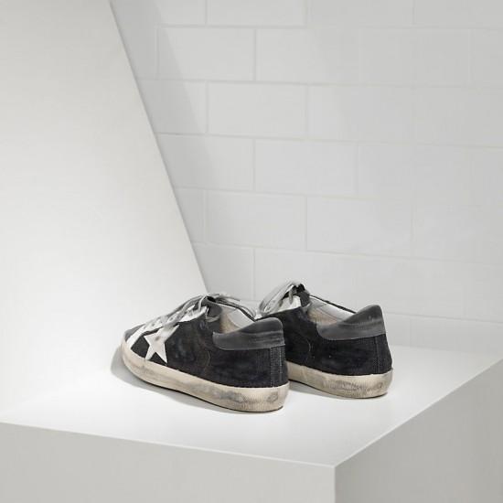 Men Golden Goose superstar in black denim grey sneaker