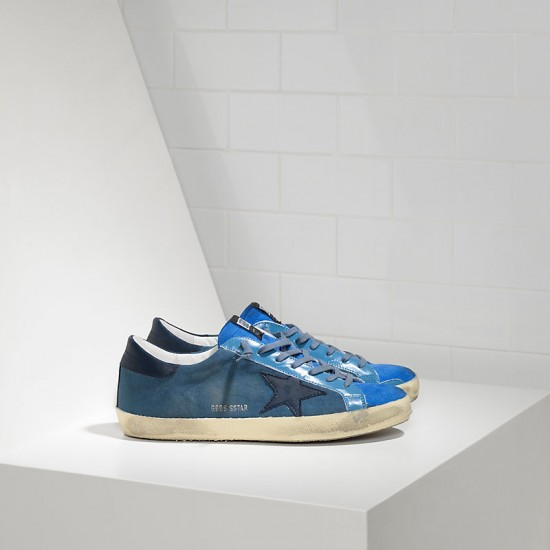 Men Golden Goose superstar in blue canvas sneaker