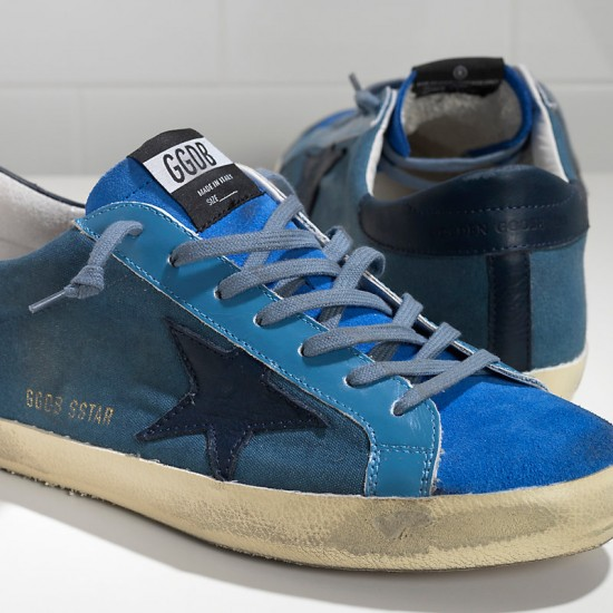 Men Golden Goose superstar in blue canvas sneaker