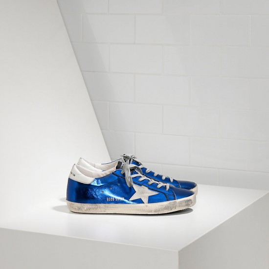 Men Golden Goose superstar in blue laminated white sneaker