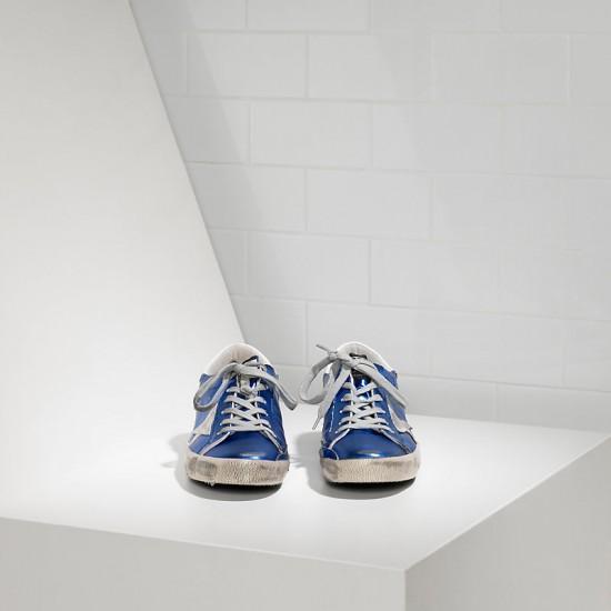 Men Golden Goose superstar in blue laminated white sneaker