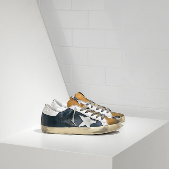 Men Golden Goose superstar in blue leather beige sneaker