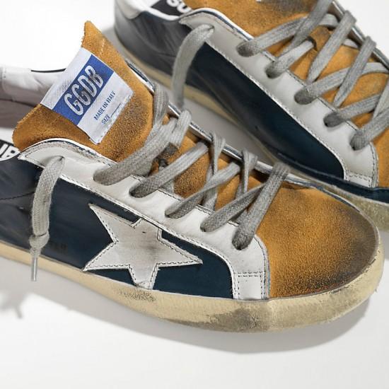 Men Golden Goose superstar in blue leather beige sneaker