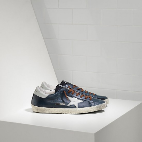 Men Golden Goose superstar in blue leather brown sneaker