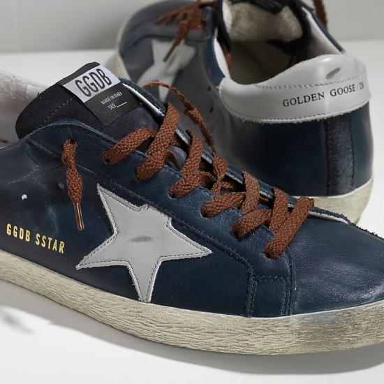 Men Golden Goose superstar in blue leather brown sneaker