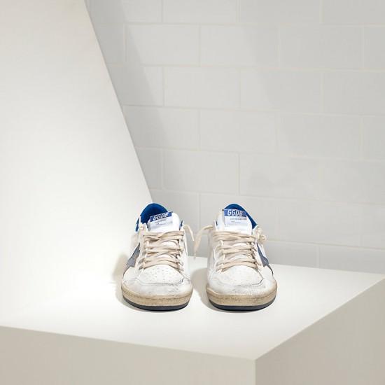 Men Golden Goose superstar in blue star logo white leather sneaker