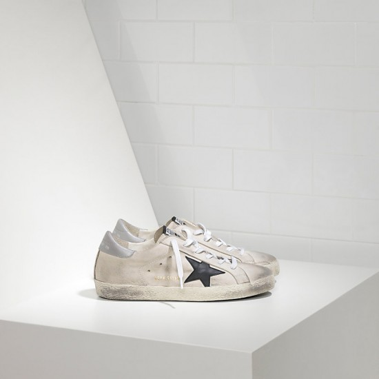 Men Golden Goose superstar in cream nabuk black sneaker