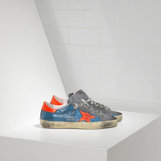 Men/Women Golden Goose superstar in fluo sky red fluo star sneaker