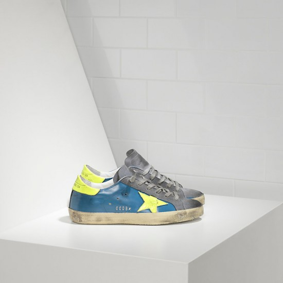 Men/Women Golden Goose superstar in fluo sky yellow fluo star sneaker